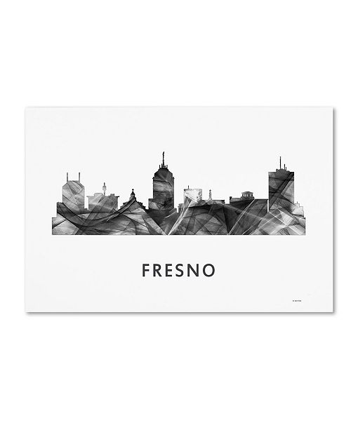 "Trademark Global Marlene Watson 'Fresno California Skyline WB-BW' Canvas Art - 30"" x 47"""