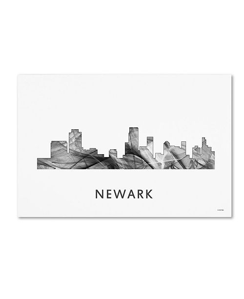 "Trademark Global Marlene Watson 'Newark New Jersey Skyline WB-BW' Canvas Art - 22"" x 32"""
