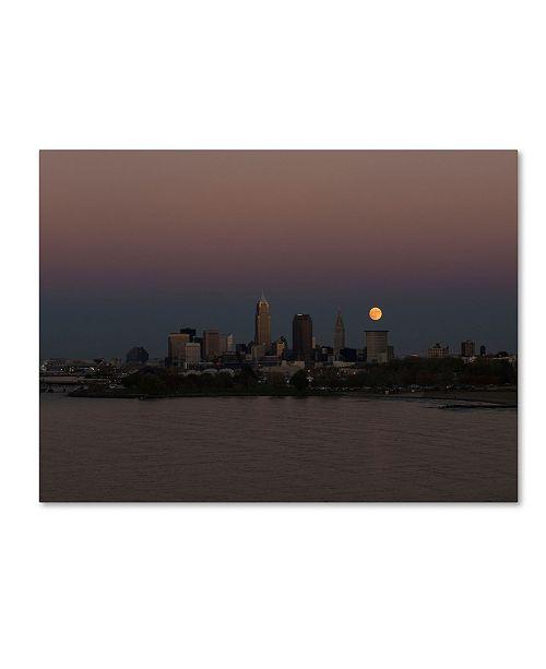 """Trademark Global Kurt Shaffer 'Super Moon Rise over Cleveland' Canvas Art - 24"""" x 32"""""""