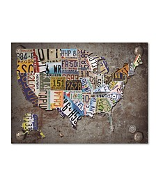 "Masters Fine Art 'USA License Plate Map on Metal' Canvas Art - 35"" x 47"""
