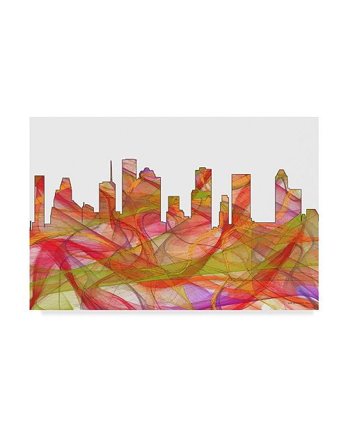 "Trademark Global Marlene Watson 'Houston Texas Skyline' Canvas Art - 30"" x 47"""