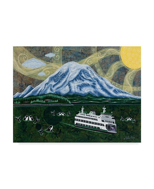 "Trademark Global Jake Hose 'Ferry Under Mount Rainier' Canvas Art - 35"" x 47"""