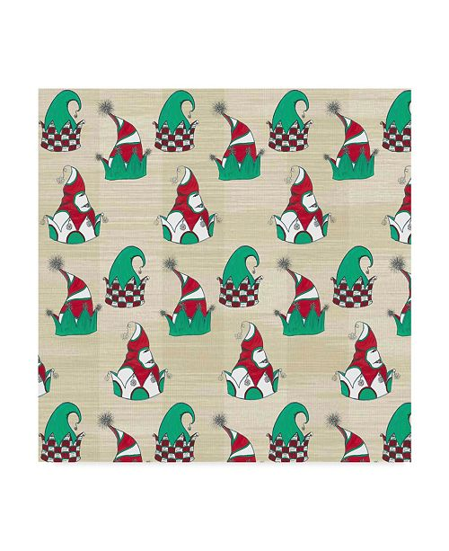 "Trademark Global Jessmessin 'Christmas Tree Elves Hats Natural' Canvas Art - 24"" x 24"""