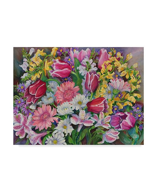"""Trademark Global Joanne Porter 'Tulips In A Spring Mix' Canvas Art - 35"""" x 47"""""""