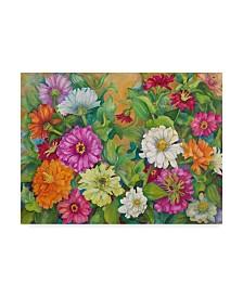 """Joanne Porter 'Zinnias Palette Of Color' Canvas Art - 35"""" x 47"""""""