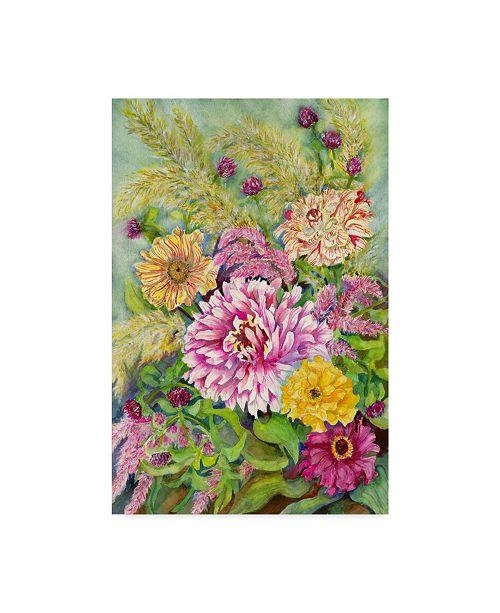 "Trademark Global Joanne Porter 'Variegated Zinnias' Canvas Art - 22"" x 32"""