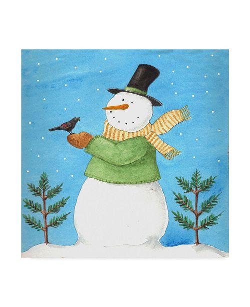 "Trademark Global Melinda Hipsher 'Snowman Green Blackbird' Canvas Art - 35"" x 35"""
