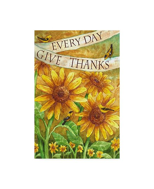 "Trademark Global Melinda Hipsher 'Sunflower Give Thanks Everyday' Canvas Art - 22"" x 32"""