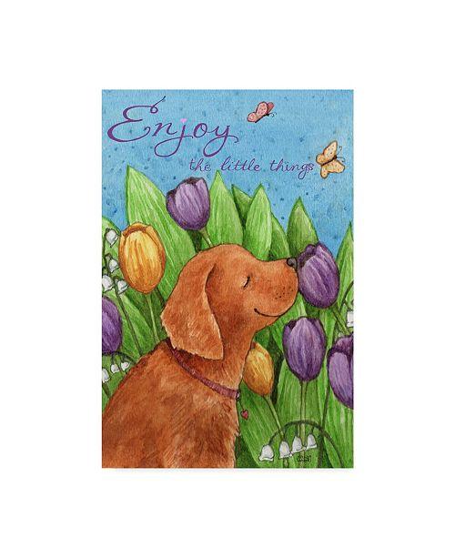 "Trademark Global Melinda Hipsher 'Golden Pup In Tulips Enjoy Little Things' Canvas Art - 30"" x 47"""