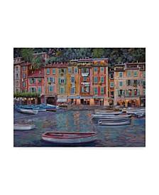 """Guido Borelli 'Portofino al Crepuscolo' Canvas Art - 35"""" x 47"""""""