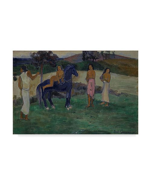 """Trademark Global Paul Gauguin 'Composition With Figures And A Horse' Canvas Art - 24"""" x 16"""""""