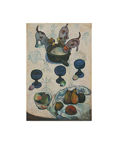 "Trademark Global Paul Gauguin 'With Three Puppies' Canvas Art - 24"" x 16"""