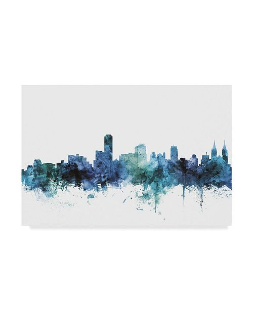 "Trademark Global Michael Tompsett 'Adelaide Australia Blue Teal Skyline' Canvas Art - 32"" x 22"""