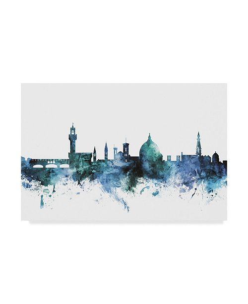 "Trademark Global Michael Tompsett 'Florence Italy Blue Teal Skyline' Canvas Art - 24"" x 16"""
