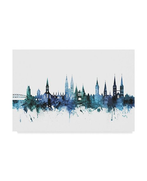 "Trademark Global Michael Tompsett 'Lubeck Germany Blue Teal Skyline' Canvas Art - 32"" x 22"""