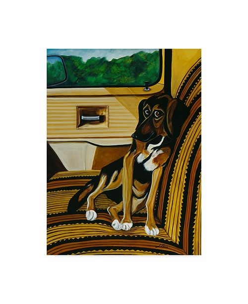 """Trademark Global Jan Panico 'Cleo Ready For A Ride In The Truck' Canvas Art - 35"""" x 47"""""""