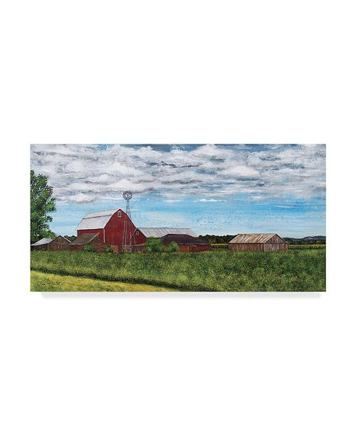 """Trademark Global Jean Plout 'Red Barn Countryside' Canvas Art - 32"""" x 16"""""""
