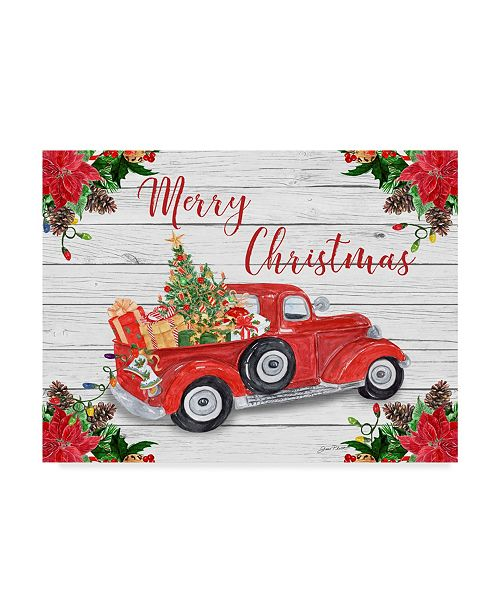"""Trademark Global Jean Plout 'Vintage Red Truck Christmas' Canvas Art - 32"""" x 24"""""""