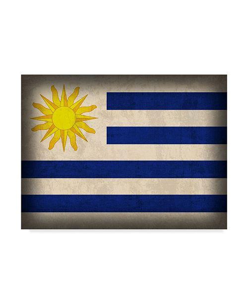 "Trademark Global Red Atlas Designs 'Uruguay Distressed Flag' Canvas Art - 24"" x 18"""