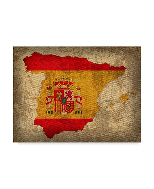 """Trademark Global Red Atlas Designs 'Spain Country Flag Map' Canvas Art - 32"""" x 24"""""""