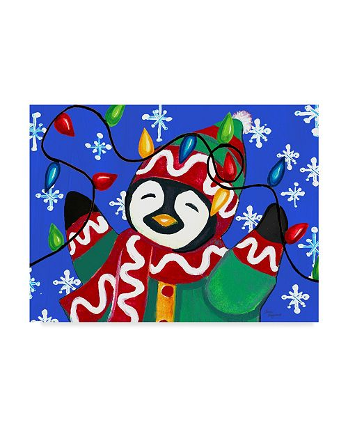 "Trademark Global Laurie Korsgaden 'Penguin Christmas Lights' Canvas Art - 47"" x 35"""