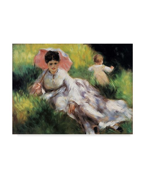 """Trademark Global Masters Collection 'Women With A Parasol & A Small Child' Canvas Art - 32"""" x 24"""""""