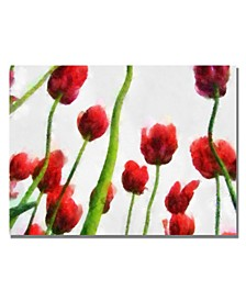 """Michelle Calkins 'Red Tulips from Bottom Up III' Canvas Art - 47"""" x 35"""""""