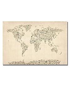 """Michael Tompsett 'Music Note World Map' Canvas Art - 24"""" x 16"""""""