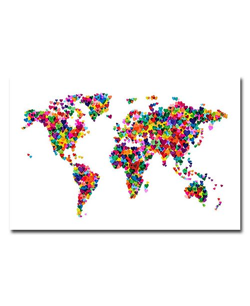 "Trademark Global Michael Tompsett 'Love & Hearts World Map' Canvas Art - 47"" x 30"""