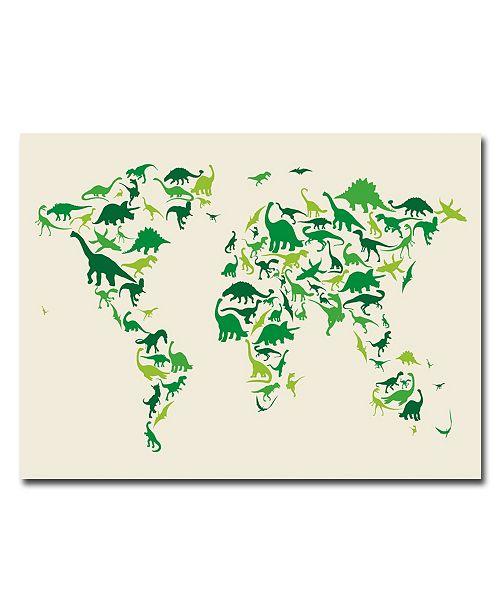 "Trademark Global Michael Tompsett 'Dinosaur World Map' Canvas Art - 24"" x 18"""