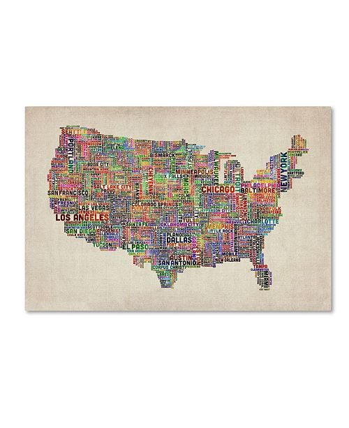 "Trademark Global Michael Tompsett 'US Cities Text Map VI' Canvas Art - 24"" x 16"""