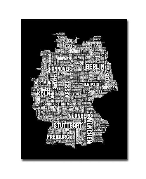 "Trademark Global Michael Tompsett 'Germany Text Map I' Canvas Art - 24"" x 18"""