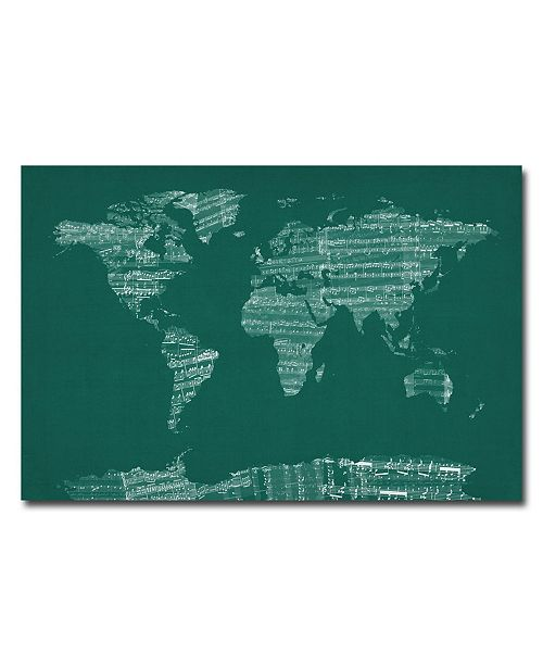 """Trademark Global Michael Tompsett 'World Sheet Music Map in Green' Canvas Art - 32"""" x 22"""""""