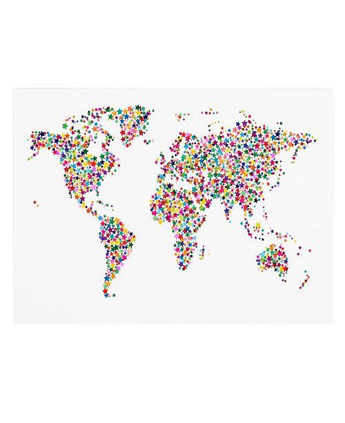 "Trademark Global Michael Tompsett 'Stars World Map' Canvas Art - 32"" x 22"""