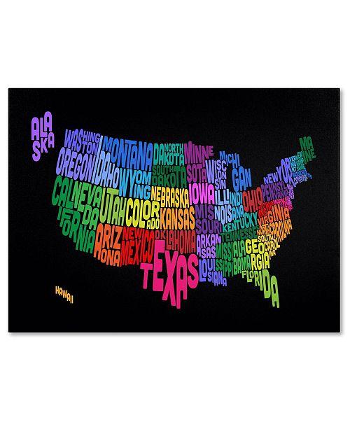 "Trademark Global Michael Tompsett 'USA States Txt Map' Canvas Art - 24"" x 16"""