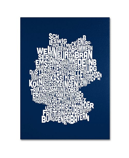 "Trademark Global Michael Tompsett 'NAVY-Germany Regions Map' Canvas Art - 47"" x 30"""