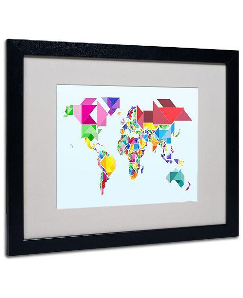 """Trademark Global Michael Tompsett 'Tangram Worldmap' Matted Framed Art - 20"""" x 16"""""""