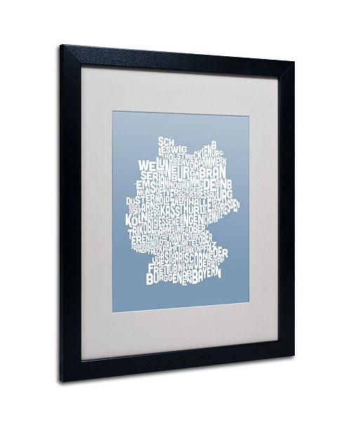 "Trademark Global Michael Tompsett 'STEEL-Germany Regions Map' Matted Framed Art - 20"" x 16"""
