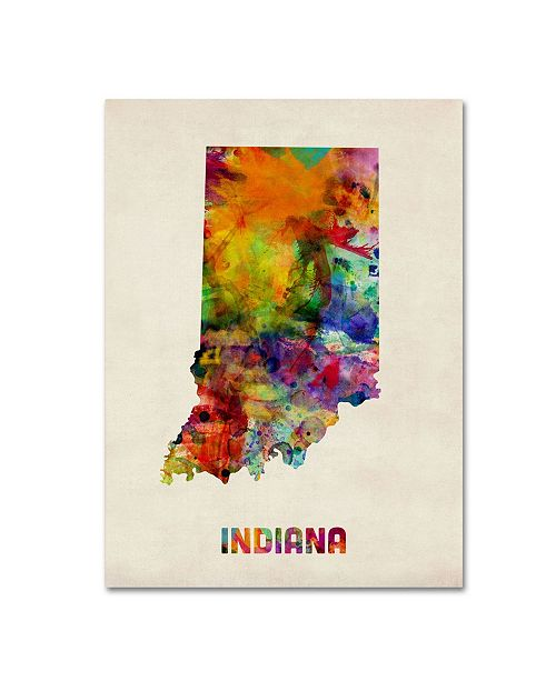 "Trademark Global Michael Tompsett 'Indiana Map' Canvas Art - 24"" x 18"""