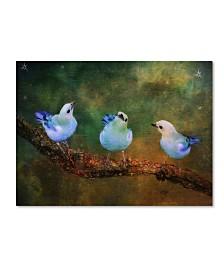 "Lois Bryan 'Three Little Blue Birds' Canvas Art - 32"" x 22"""