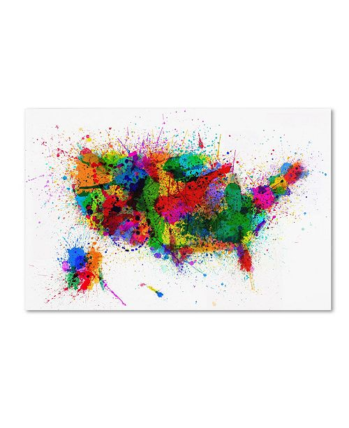 "Trademark Global Michael Tompsett 'US Paint Splashes' Canvas Art - 24"" x 16"""