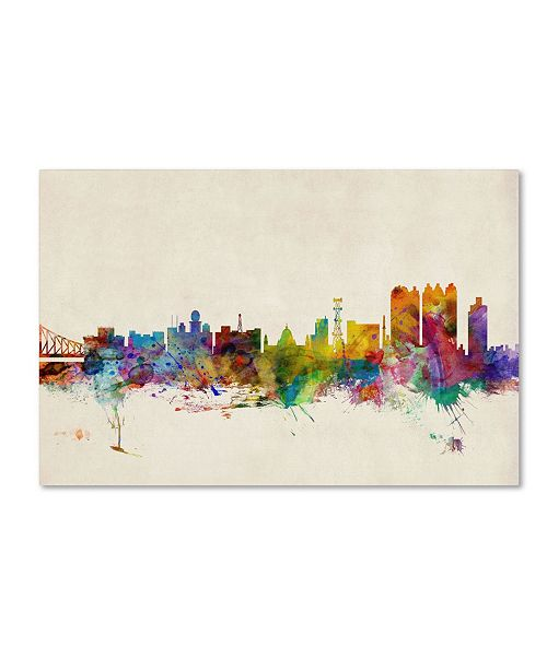 "Trademark Global Michael Tompsett 'Calcutta Watercolor Skyline' Canvas Art - 24"" x 16"""