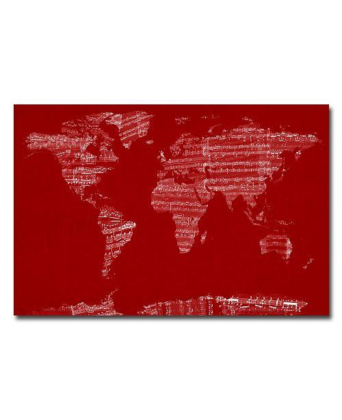 """Trademark Global Michael Tompsett 'Sheet Music World Map' Canvas Art - 24"""" x 16"""""""
