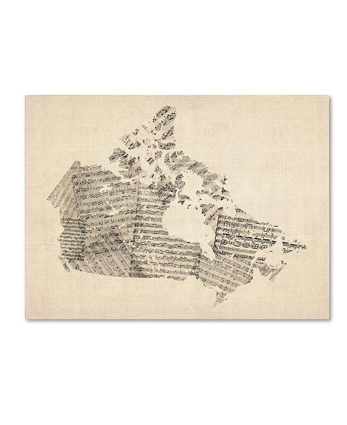 "Trademark Global Michael Tompsett 'Old Sheet Music Map of Canada' Canvas Art - 32"" x 24"""