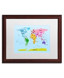 """Michael Tompsett 'World Map for Kids' Matted Framed Art - 20"""" x 16"""""""