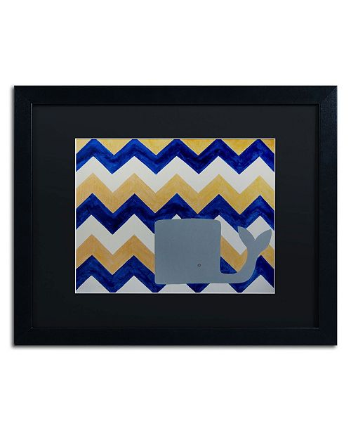 "Trademark Global Nicole Dietz 'Blue and Gold Whale Chevron' Matted Framed Art - 20"" x 16"""