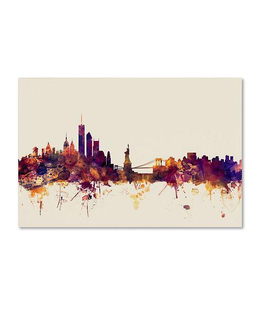"Trademark Global Michael Tompsett 'New York Skyline IX' Canvas Art - 22"" x 32"""