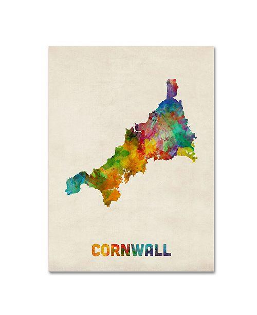 "Trademark Global Michael Tompsett 'Cornwall England Watercolor Map' Canvas Art - 35"" x 47"""