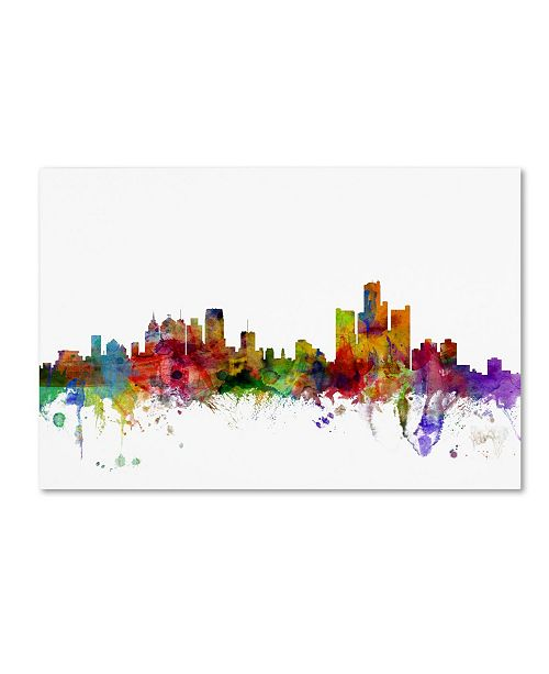 "Trademark Global Michael Tompsett 'Detroit Michigan Skyline' Canvas Art - 30"" x 47"""