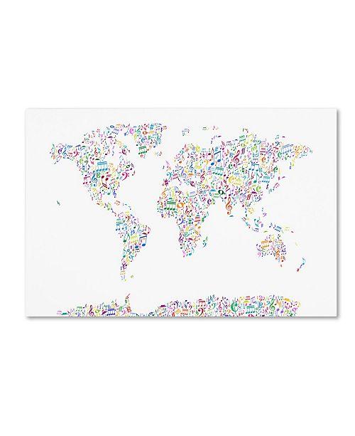 "Trademark Global Michael Tompsett 'Music Notes Map of the World' Canvas Art - 22"" x 32"""